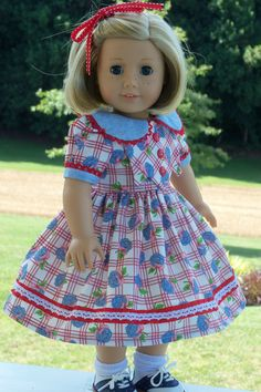 Kit's Birthday Dress  / Clothes for American Girl by Farmcookies, $42.00