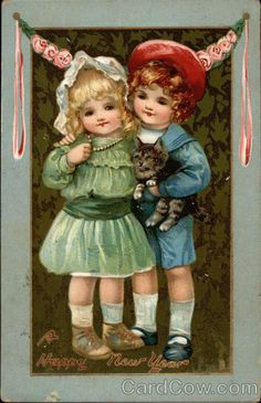 """Vintage Cat Card  """"A Happy New Year"""""""
