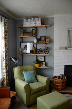 LIVING ROOM TOUR - Industrial Shelving by Meg Padgett of Revamp Homegoods revamp homegood, living rooms, industri furnitur, room redesign, hero room, live room