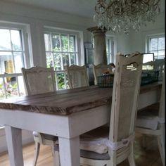 barnwood table. dark top, light bottom