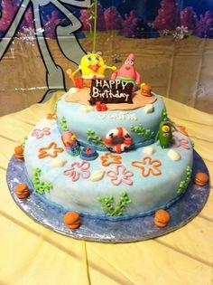 Cake at a Sponge Bob Party #spongebob #party