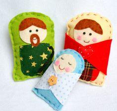 Handmade feltro Natividade - Decoração de Natal - Enfeites