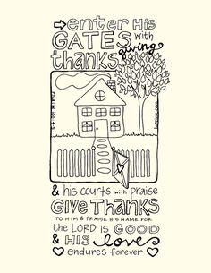 Psalm 100 Free Printable/Coloring Sheet