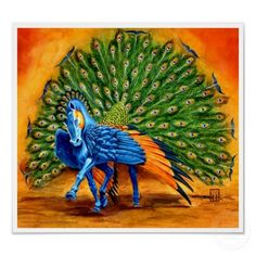 pegasus stallion with peacock feathers.