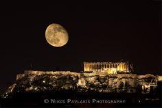 """Parthenon and moon"" by Nikos Pavlakis, via 500px. I miss Greece."