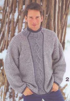Textured pullover for men with a subtle cable panel running vertically along the front.