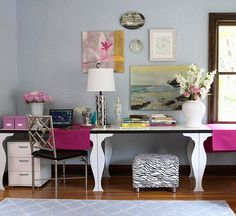 Bold pink and patterned accents add personality to this workspace. More home office ideas: http://www.bhg.com/rooms/home-office/makeovers/stylish-smart-home-offices/?socsrc=bhgpin031213pinkoffice