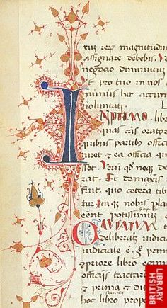 Initial 'I'(n) with pen-flourishing, at the beginning of book 2 of Pseudo-Cicero's Rhetorica ad Herennium.   Origin:Italy, N. E. (Veneto?, Venice?)