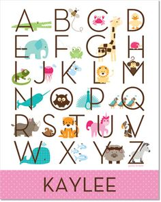 Zoo Friends Tickle Me Pink Personalized Alphabet Poster by Petite Lemon Prints