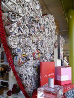 newspap rose, paper roses, rose display, window displays