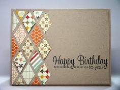 """Brown Kraft """"Happy Birthday"""" Card...with multi-colored paper diamonds and stamped greeting.  By Carol:  The Inky Daisy."""