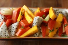 Tropical Fruit Salad with Ginger Mint Dressing