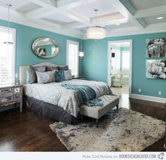 This is basically what I want for my next room. The ceiling is exactly what I want but the aqua would be changed to a teal and there would be recessed shelving with purple behind the shelves. I love this white crown molding! And these are just the thoughts the walls and ceiling!