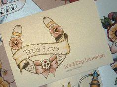 Lucky Horse Shoe Tattoo Alternative Wedding Invitations | Vickilicious Designs