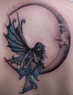tattoo idea, moon tattoo, fairies, tattoos, art