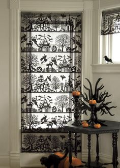 Black Spooky Hollow Panel by Heritage Lace. #lace#halloween #decor #spooky