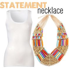 How to dress up a simple white tank top with a Aztec necklace?