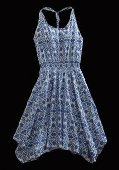 Tin Haul® Blue Ikat Tapestry Print Braided Strap Cotton Cowgirl Dress