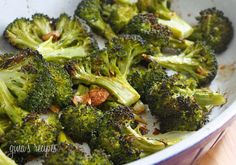Roasted Broccoli with Smashed Garlic #broccoli #garlic #roasted #sidedish