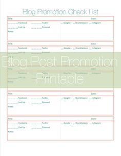 Free Blog Post Promotion Checklist Printable - A Dose of Paige