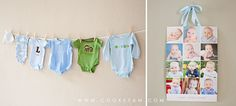 Hang up one outfit per size to represent his first year. Such a cute idea.
