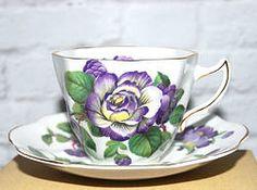 Bone China Tea Cup & Saucer from England - PURPLE