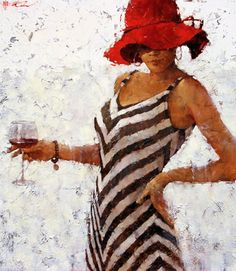 """""""Rhapsody on the theme of Vintage Bordeaux"""" - Andre Kohn, oil on canvas {contemporary figurative artist #impasto female red hat wine standing woman cropped painting}"""