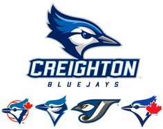 Creighton's current logo compared to the history of Toronto's side-profile jay designs