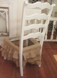 Burlap Ruffled Skirting, upholstered seat goes right over to anchor ruffles into place.