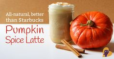 Pumpkin Spice latte recipe, a natural Starbucks copycat that's WAY healthier and way less expensive too. From MamaNatural.com. #Pumpkin #Pum...