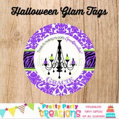 HALLOWEEN GLAM favor tags  You print  3 by PrettyPartyCreations