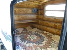 here is an interior view of my tear-drop camper.  It sleeps two and is about 4' wide by 7' long.