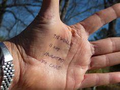 Writing Advice Written on Writers' Hands - David Drake