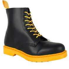 Dr. Martens Boots 1460 Black and Yellow Soled Store $125.00 fashion place, marten 1460, dr martens, marten boot, beauti boot, marten skor, black, marten shoe, doc marten