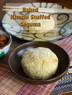Baked Kimchi Stuffed Goguma (sweet potatoes)