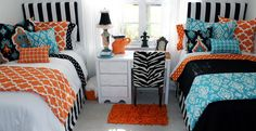 tangerine and teal are HOT! Beautiful mix and match bedding for home and dorm www.decor-2-ur-door.com