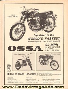 1966 Ossa 230cc Sport Motorcycle Vintage Ad