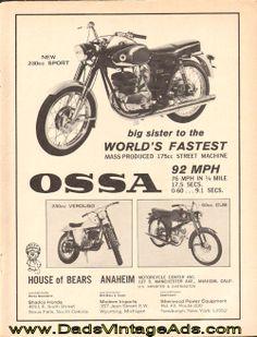 1966 Ossa 230cc Sport Motorcycle Vintage Ad