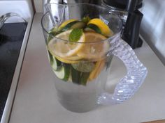 Homemade cucumber, lemon, and mint water! Helps to detox your body!  I am making it now!