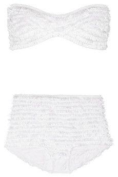 Fringed stretch-jersey bandeau bikini