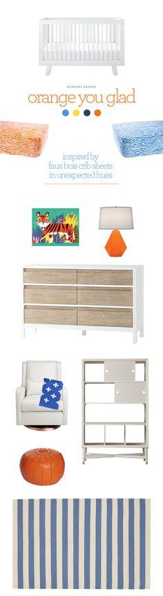 Nursery design: orange you glad mood board via @psstudio