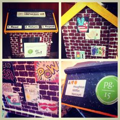 "Elizabeth Rothwell. Orlando, FL. A group of Orlando HMH employees delivered a Little Free Library to the Page 15 Homework Room in downtown Orlando. Specially created with Page 15 in mind, this Little Free Library was designed and painted by Senior Learning Architect Alexa Dowlen. Her design features a brick background and inspirational posters with a ""pop art"" feel that appeal to kids of all ages. The posters also touch on the subjects students are studying when they visit the Homework Room."