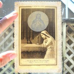 Sweet holy card… hold it up to the light to see the image of Christ.  Man, why don't they make stuff like this anymore?