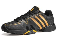 adidas barricade 7.0 Warrior Black/Gold Men's Shoe #TennisCouture #TennisFashion