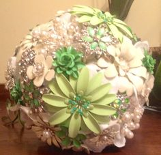 Brooch Bouquet in fresh spring green, ivory, pearls, rhinestones & humor!  $235.00