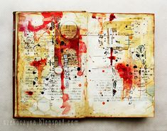 """art-journal page inspired by the """"Red rain"""" song, by czekoczyna"""