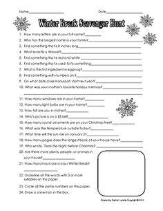 FREE Christmas Break Scavenger Hunt