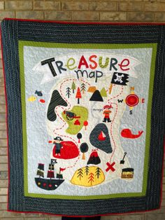All the pretty Quilts: Treasure Map Boy Quilt Kit #rileyblakedesigns #treasuremap #quiltkit #lesliegrainger