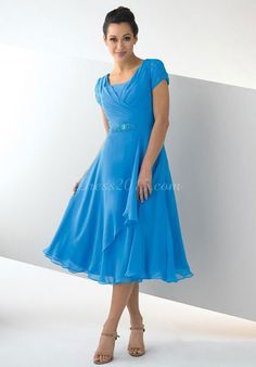 Blue Chiffon A-line Cap Sleeve Tea-length Mother Of The Bride Dress picture 1