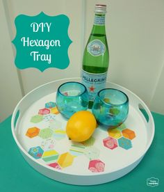 DIY Hexagon Tray finished at thehappyhousie